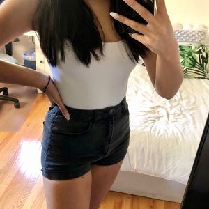 high rise black denim shorts